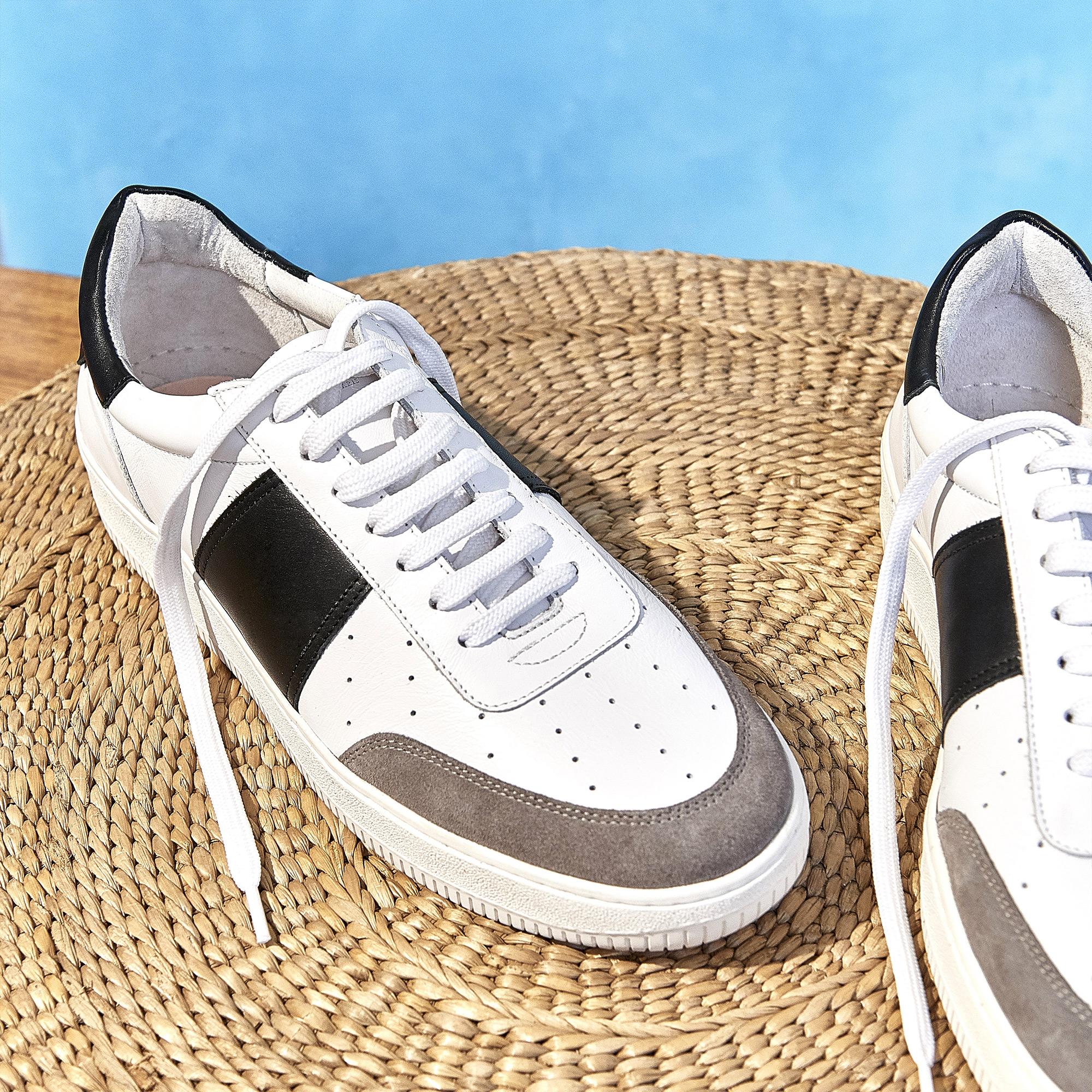 Sneaker bimateriale e fascia a contrasto : Collezione Estiva colore Bianco