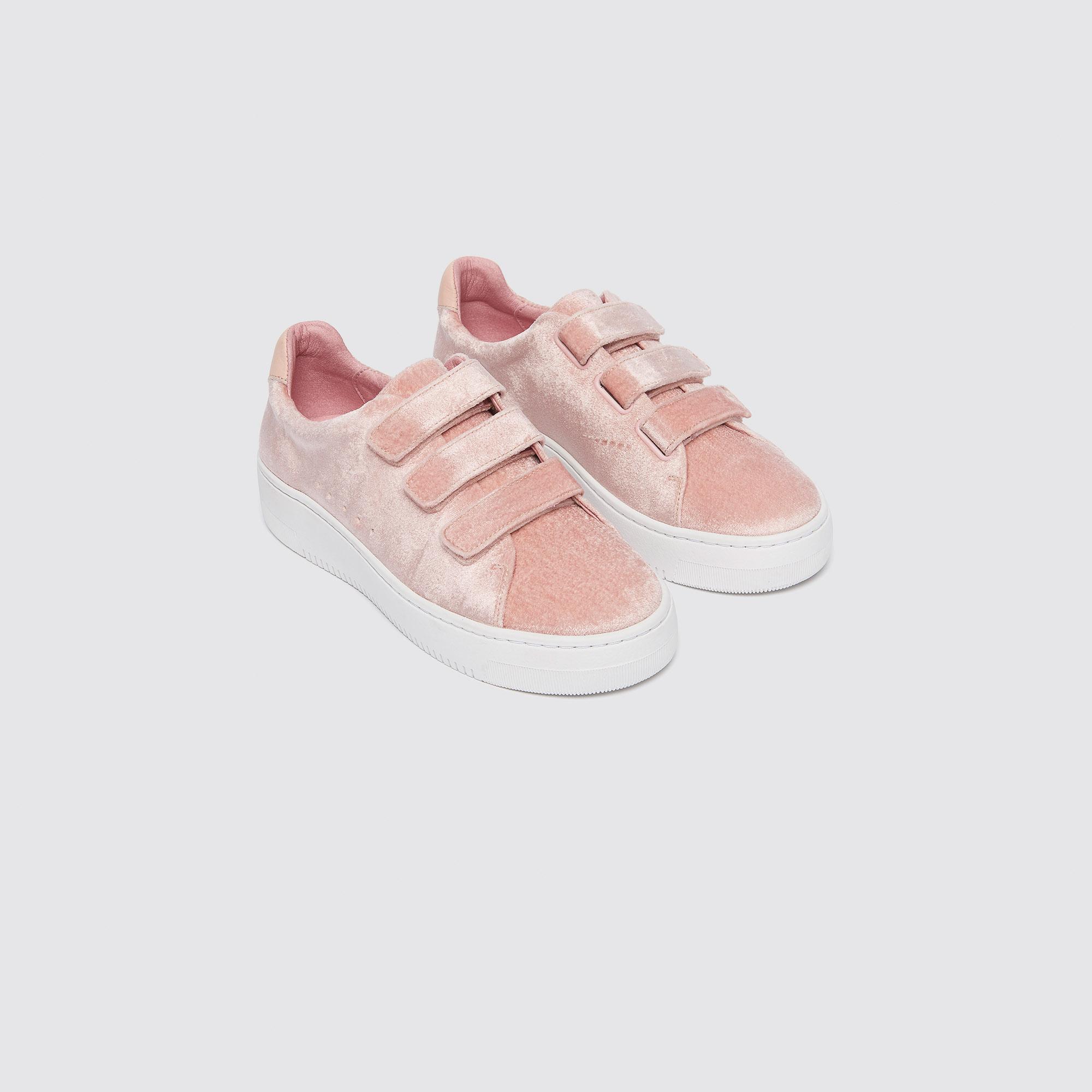 Sneaker in velluto con chiusura velcro : Sneaker colore Rosa pallido
