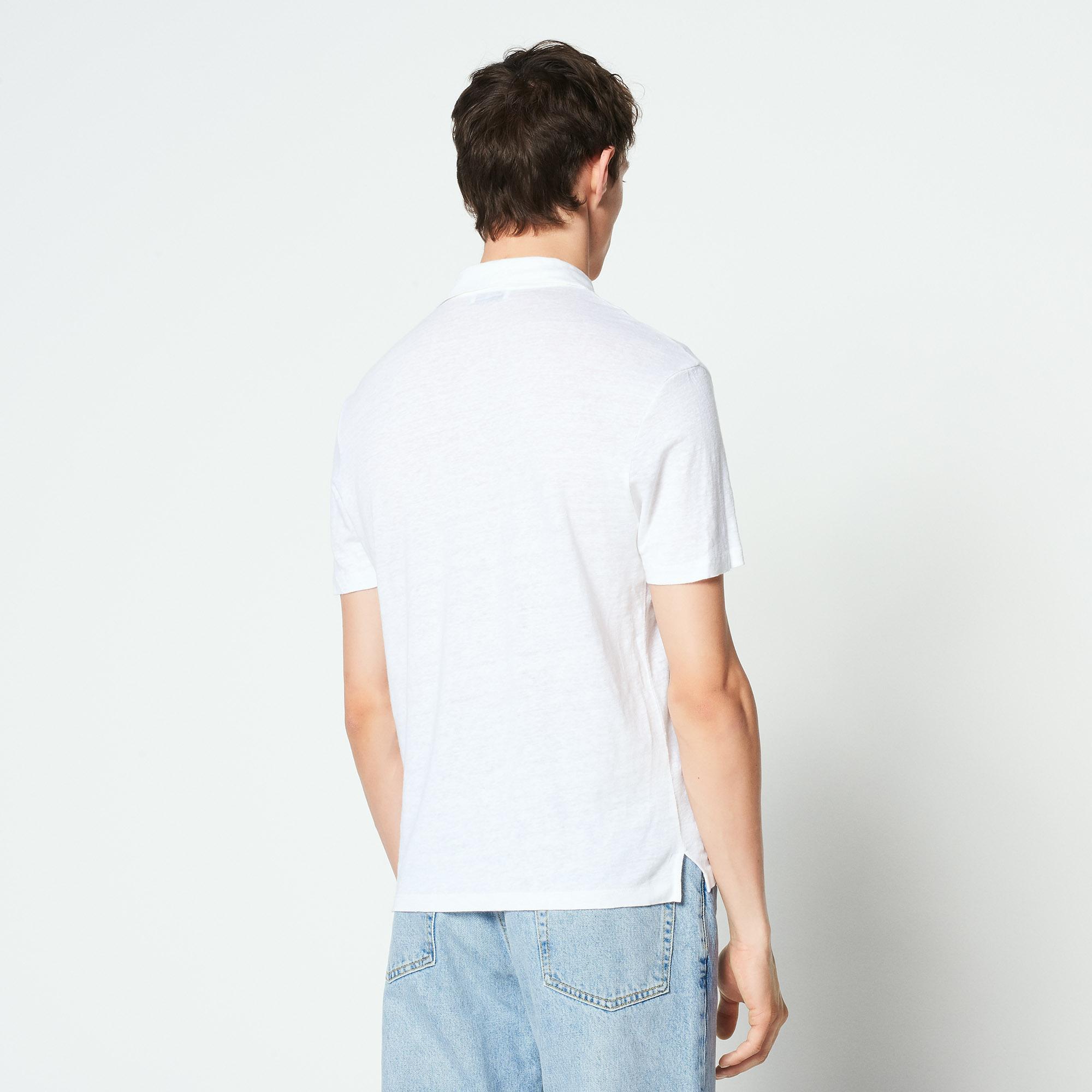 Polo in lino tinta unita : Magliette & Polo colore Bianco