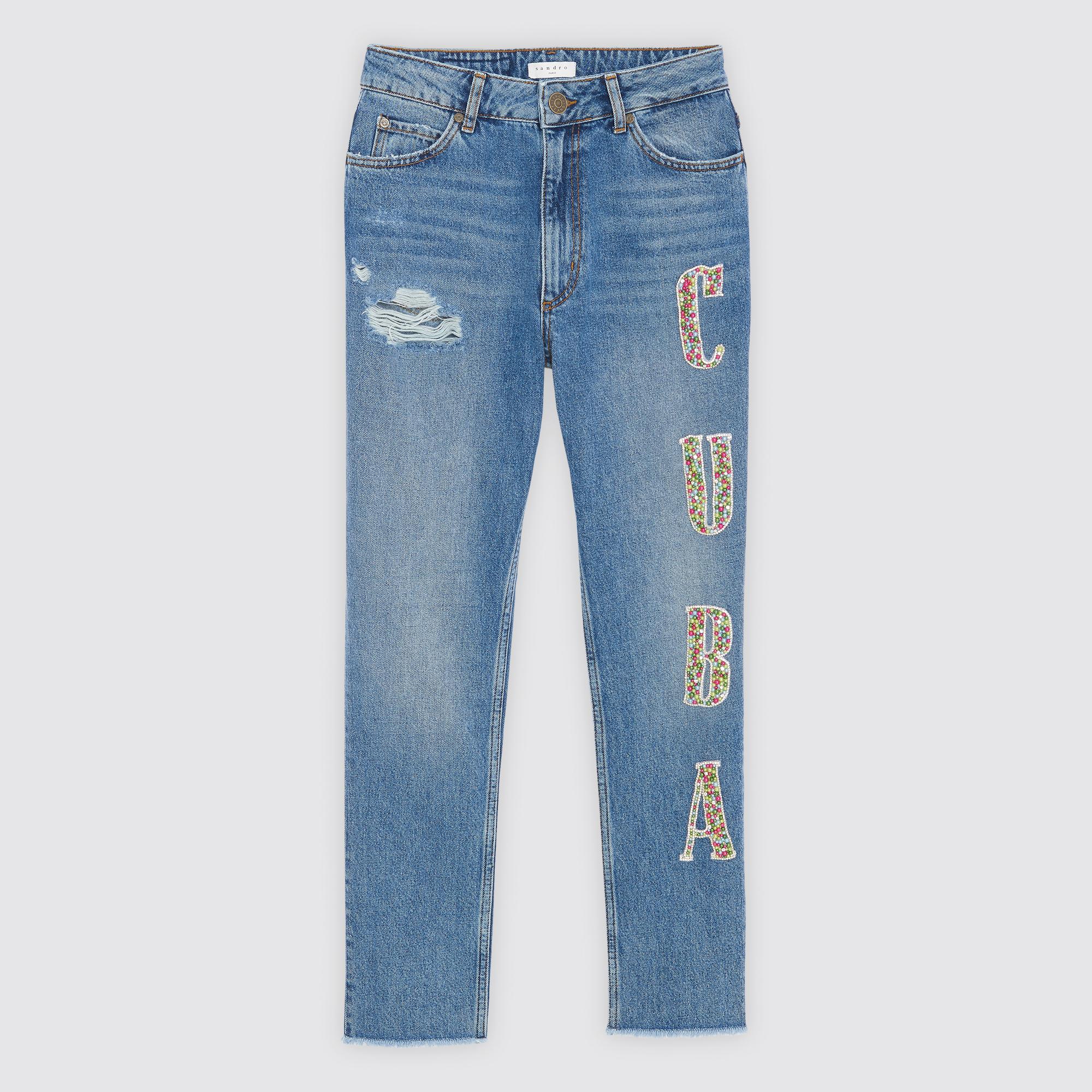 Jeans a vita alta Cuba : Jeans colore Blue Vintage - Denim
