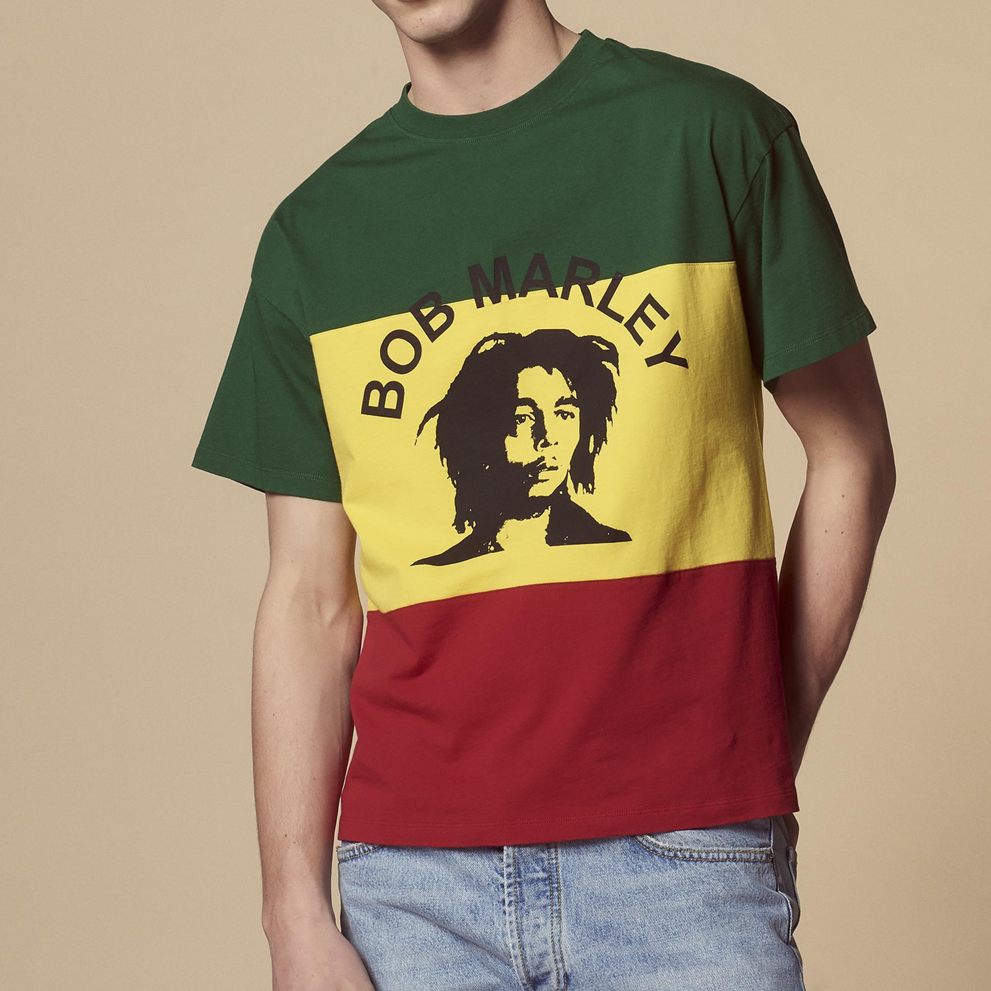 T-shirt tre colori floccata Bob Marley : Magliette & Polo colore Multicolore
