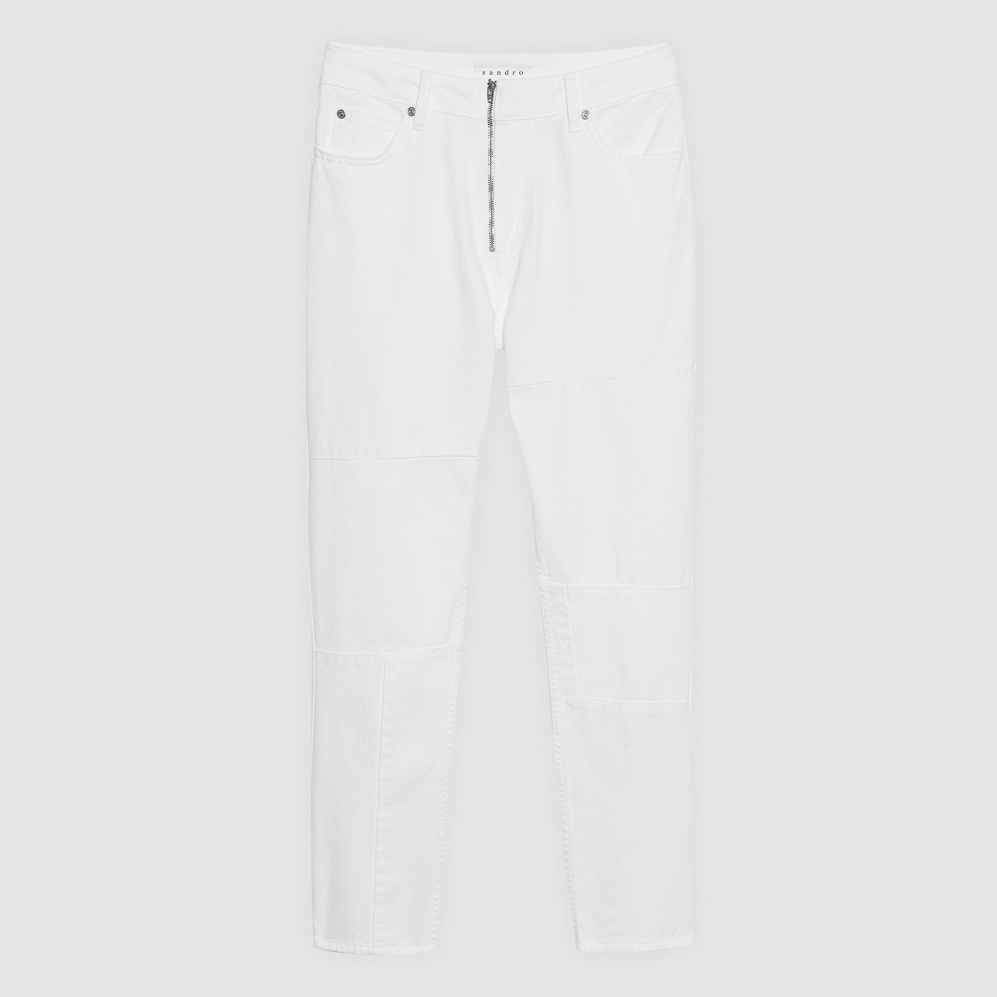 Jeans bianchi a vita alta : Pantaloni colore Bianco