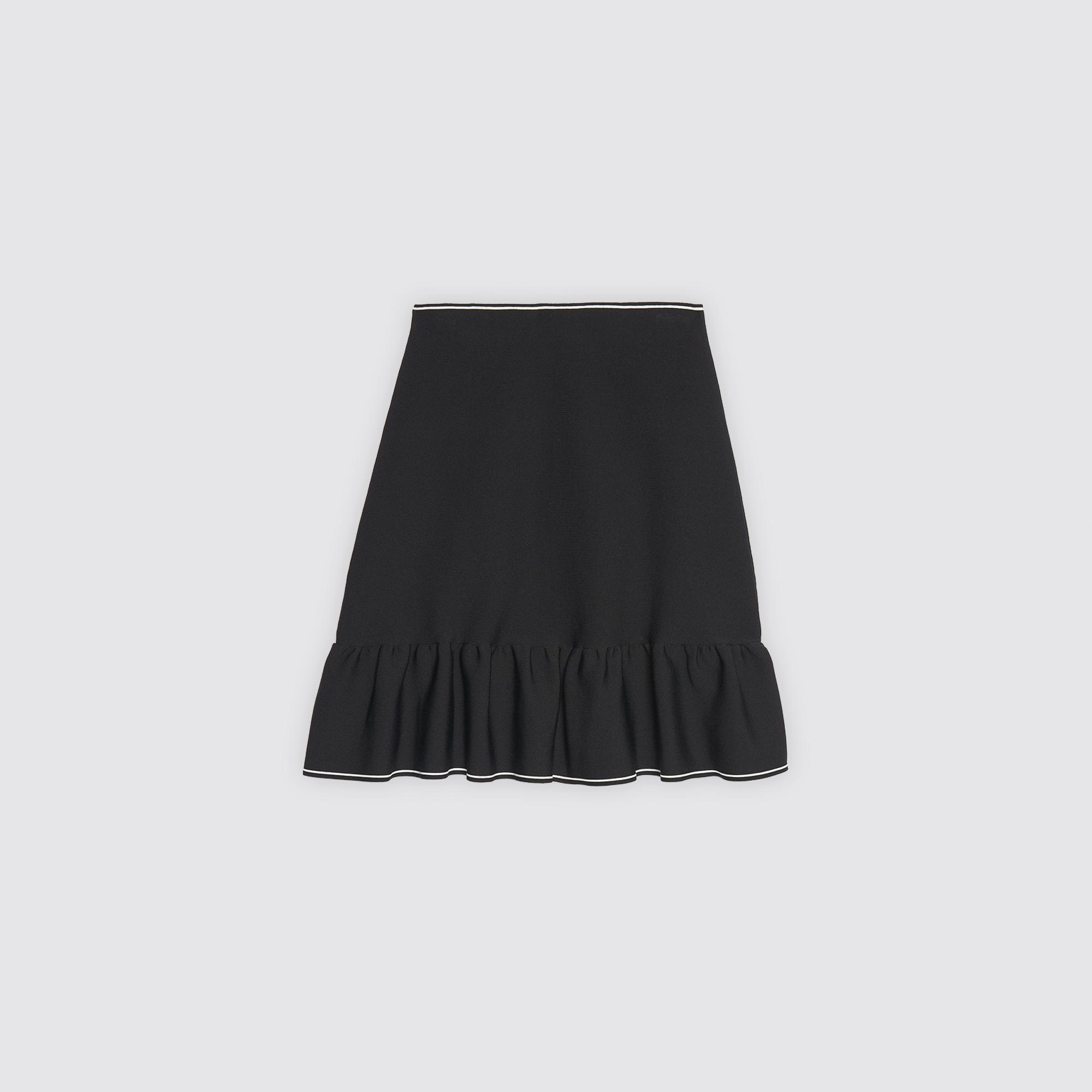 Gonna in maglia con volant e zip : Collezione Estiva colore Nero