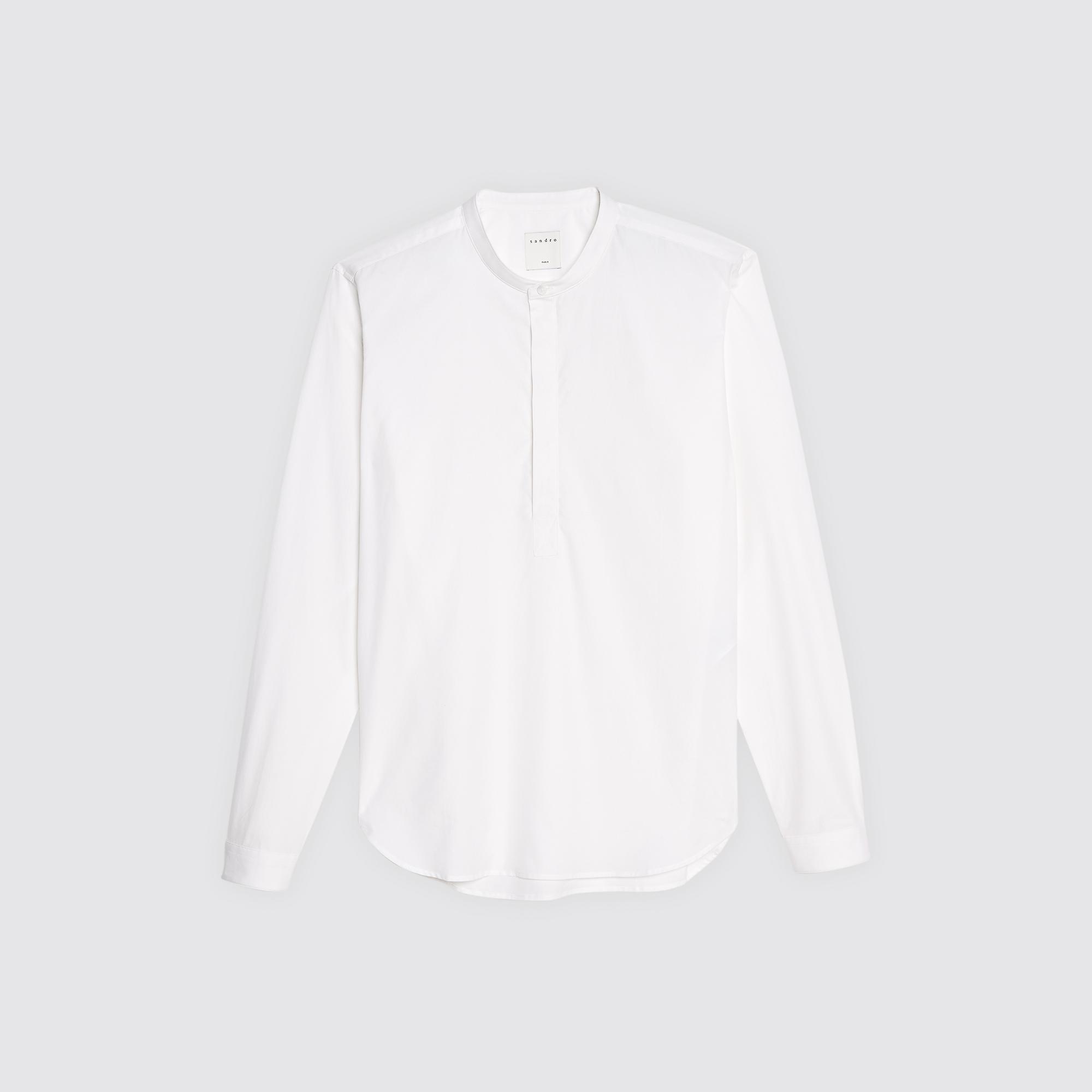 Camicia a tunica con collo alla coreana : Camicie colore Bianco