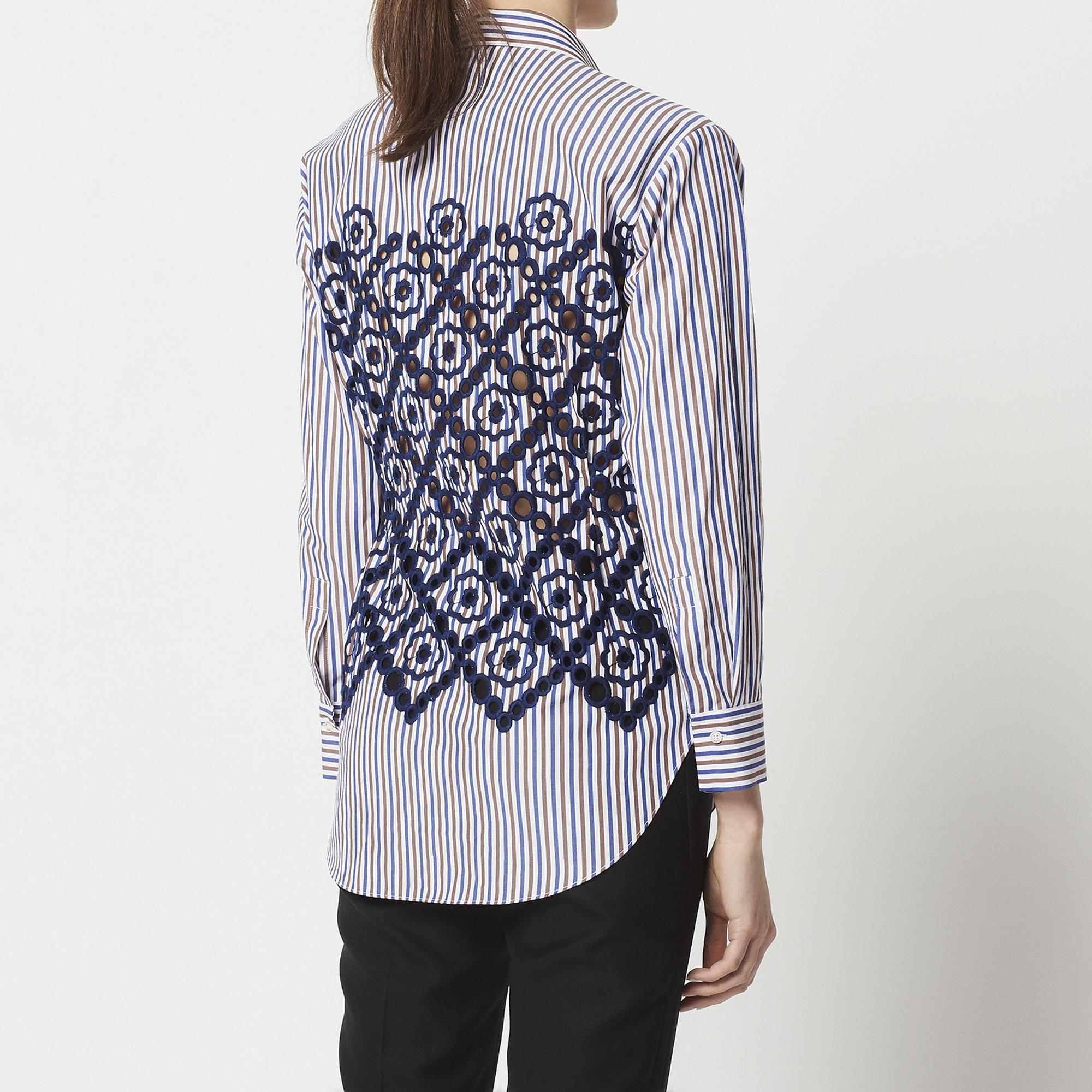 Camicia scaldacuore con ricamo floreale : Top & Camicie colore Blu Marino