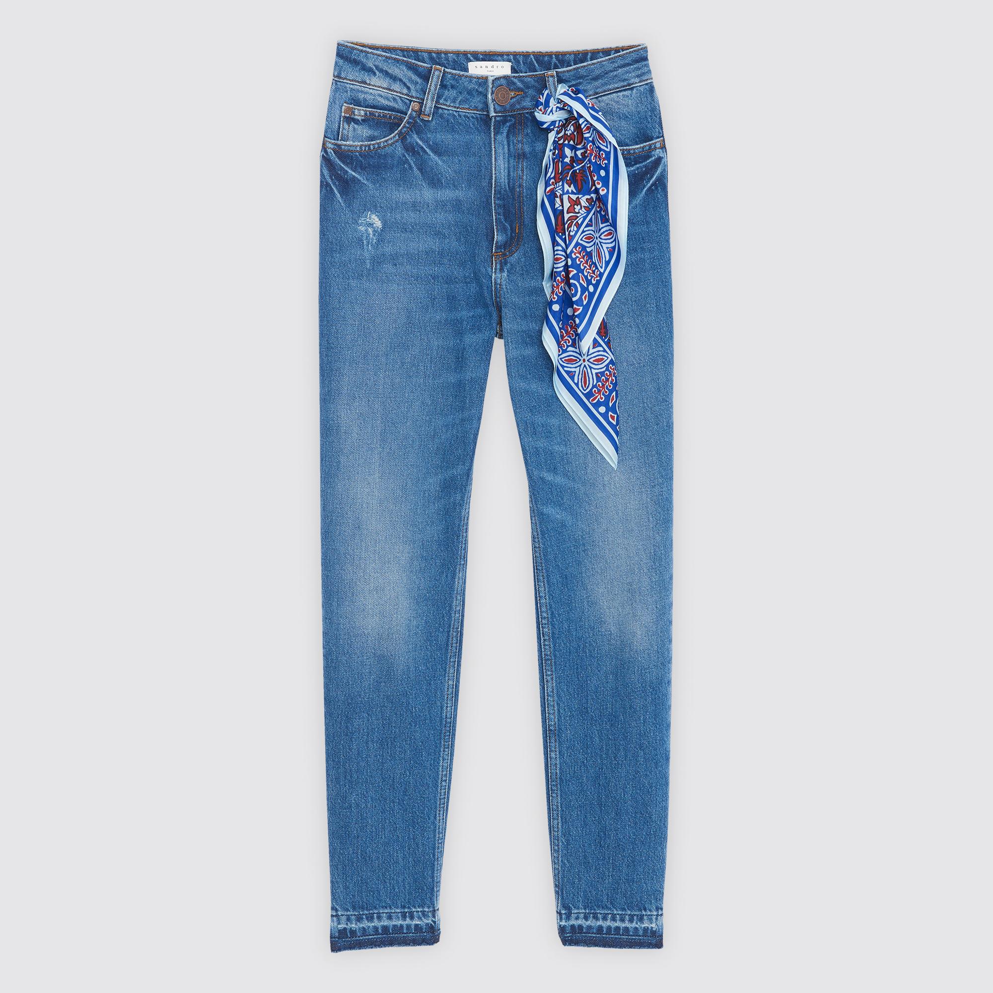 Jeans a vita alta con inserti : Jeans colore Blue Vintage - Denim