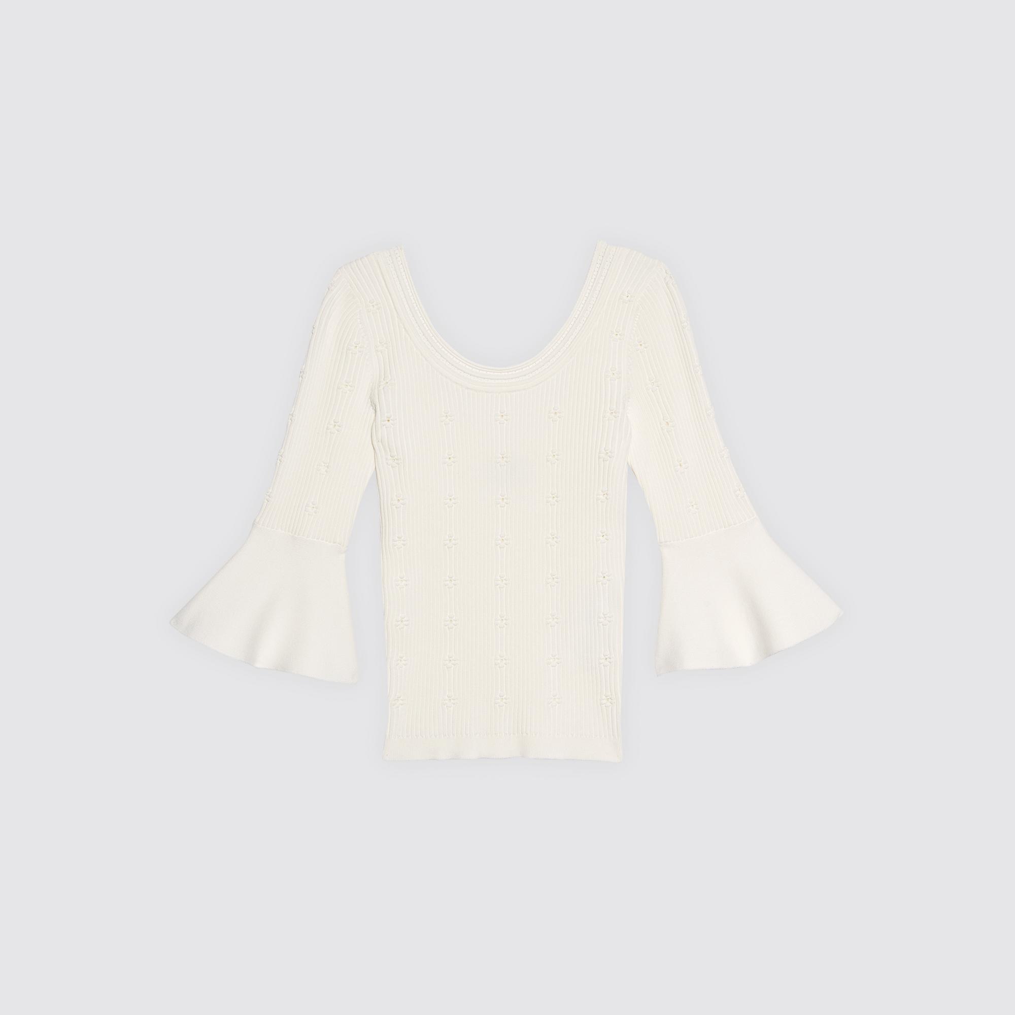 Pullover in maglia con inserto floreale : Maglieria & Cardigan colore Ecru