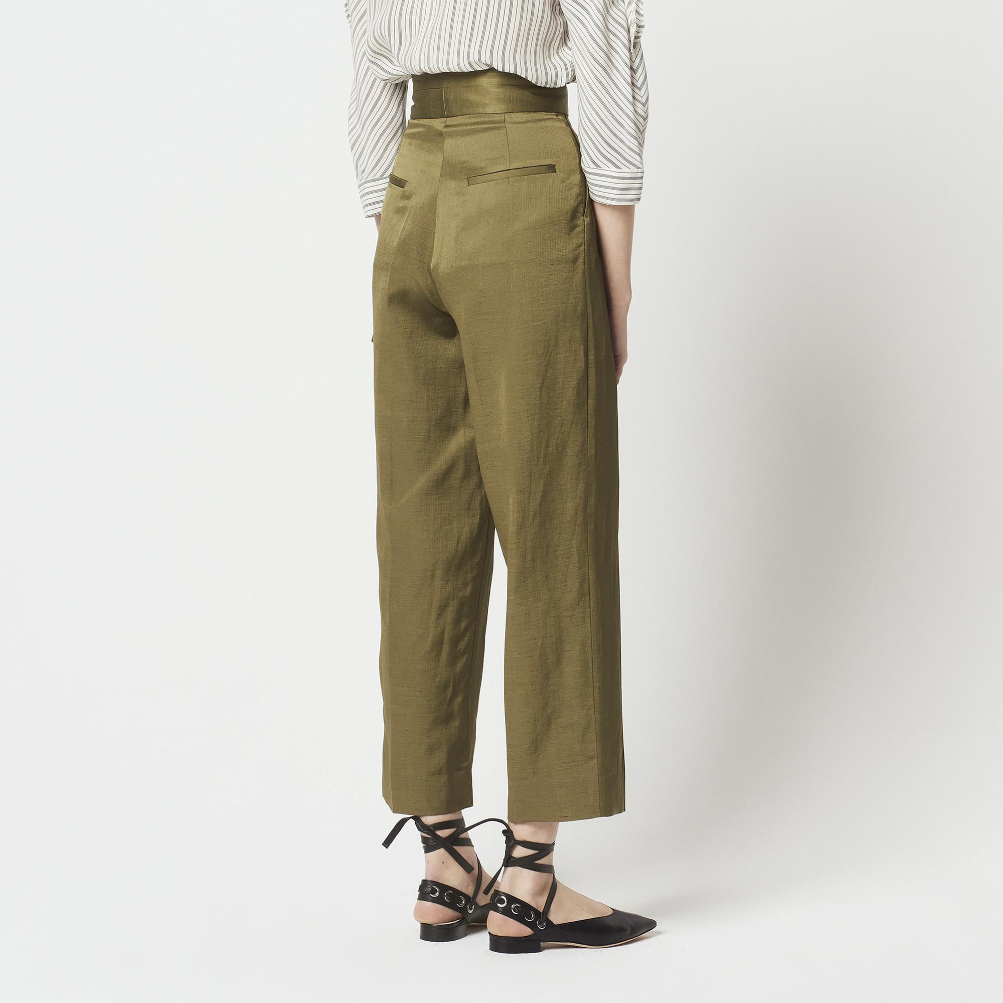 Pantaloni con cintura a doppio passante : Pantaloni colore Cachi