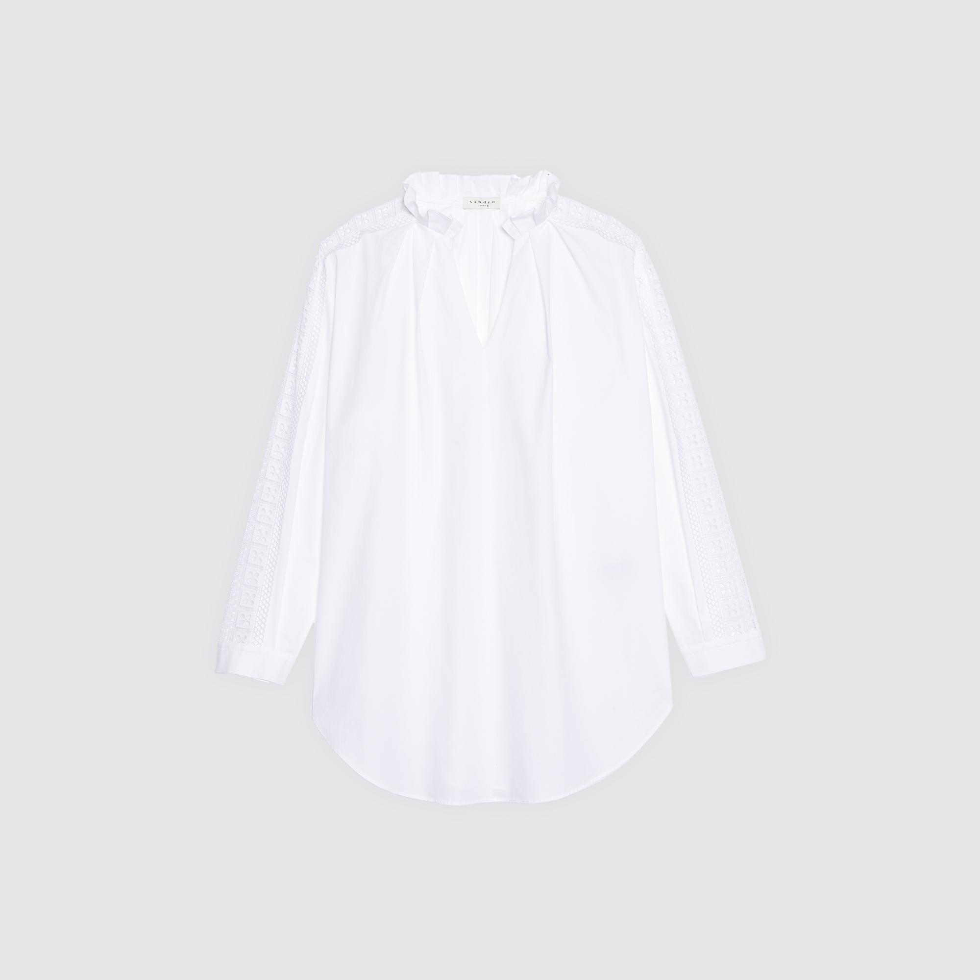 Top con pizzo trasparente sulle maniche : Collezione Estiva colore Bianco
