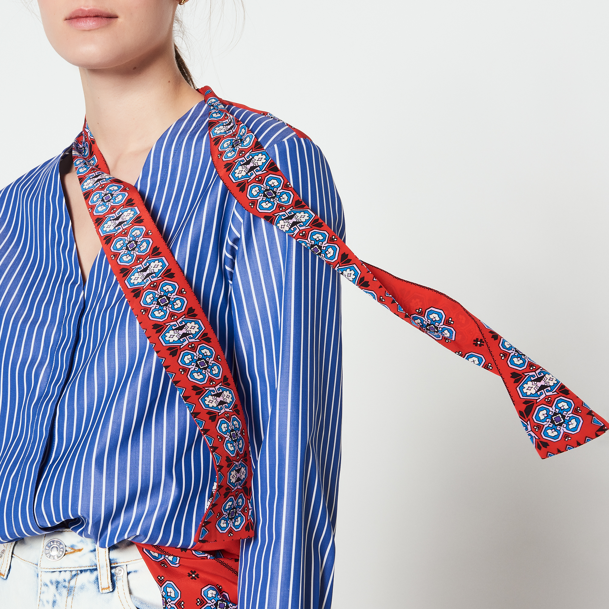 Camicia a righe con inserti stampati : Top & Camicie colore Blu