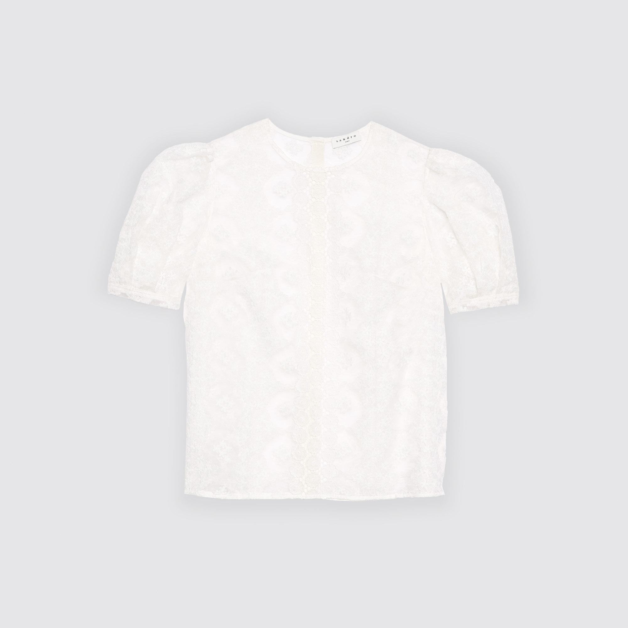 Top leggermente trasparente con pizzo : Collezione Estiva colore Bianco
