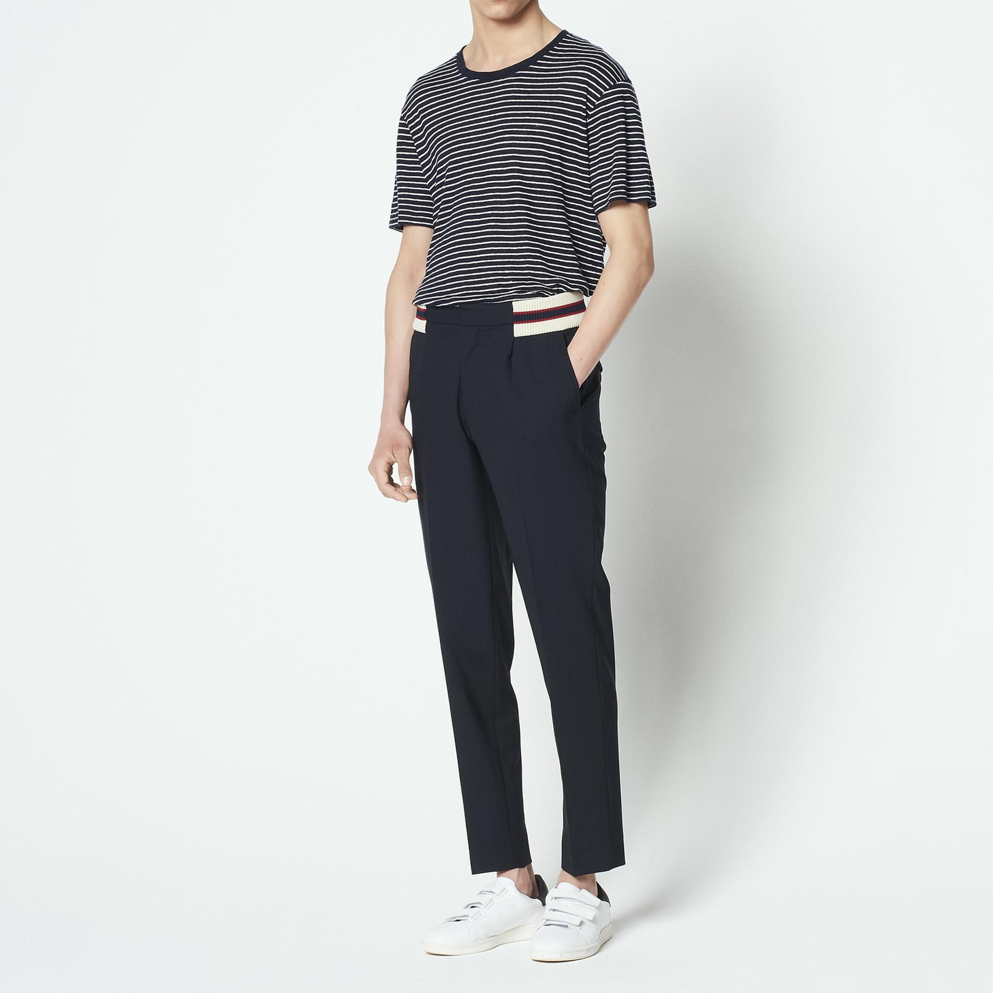 Pantaloni carrot da città stile college : Pantaloni & Short colore Blu Marino