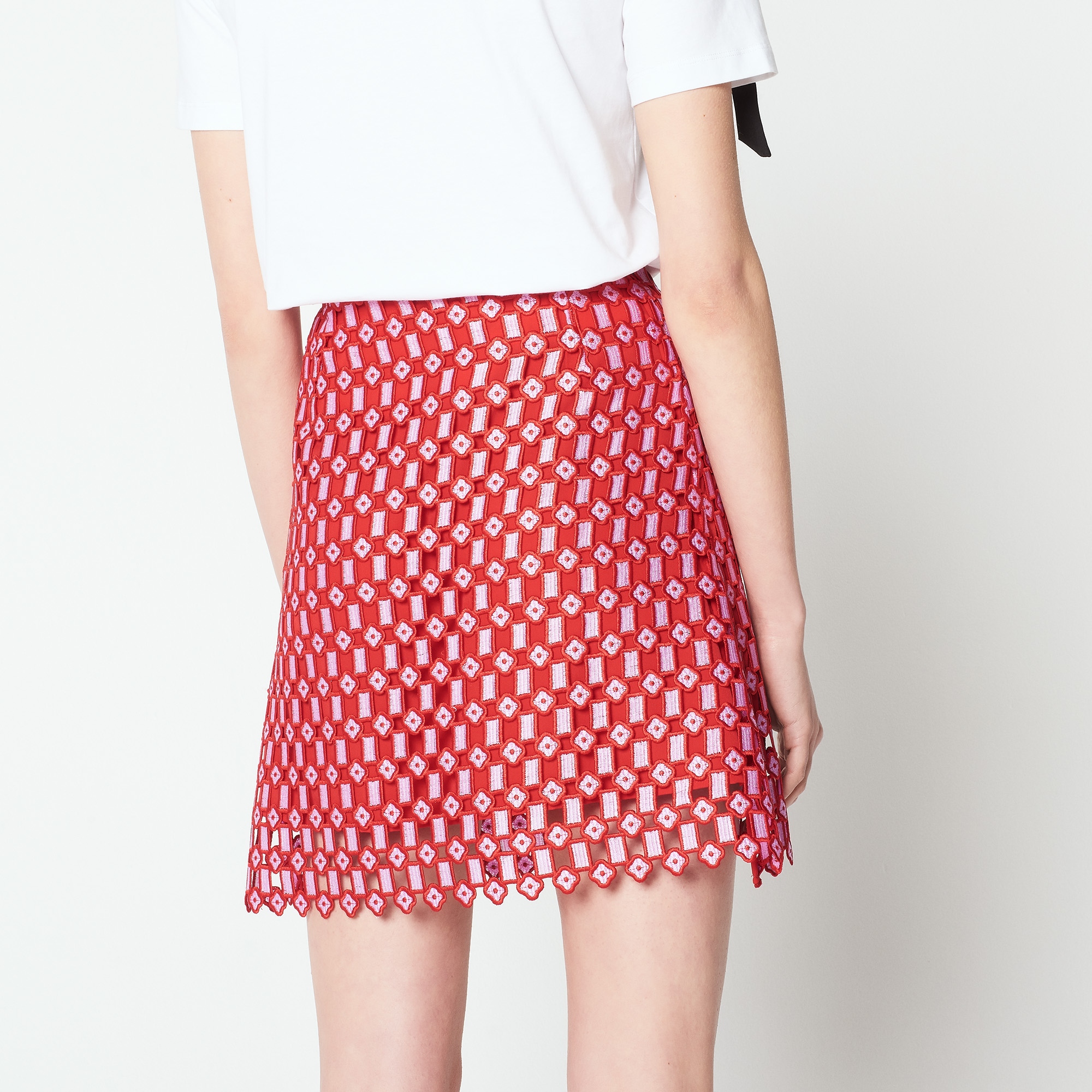 Gonna bicolore in pizzo all-over : Gonne & Short colore Rosso