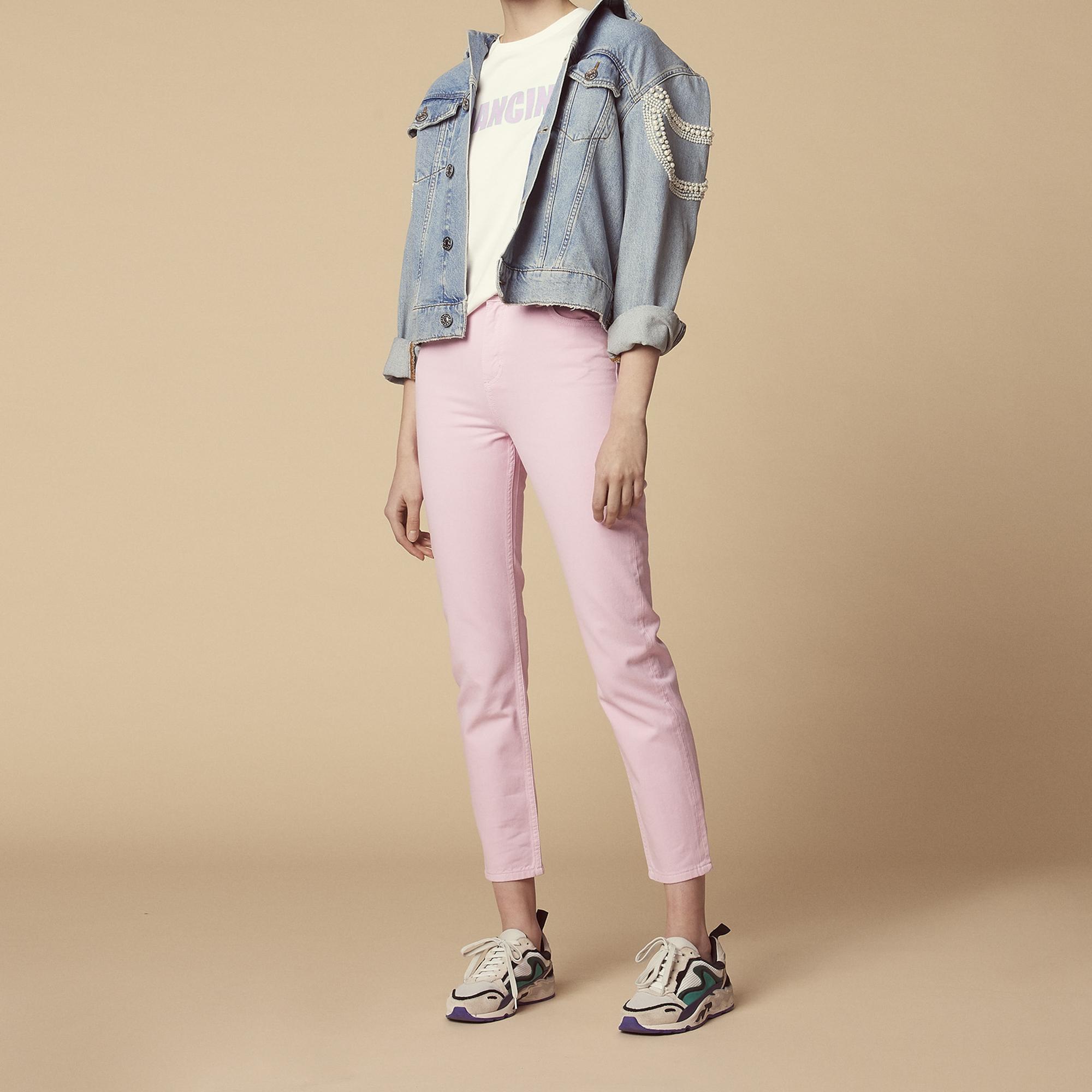 Jeans rosa a vita alta : Jeans colore Rosa