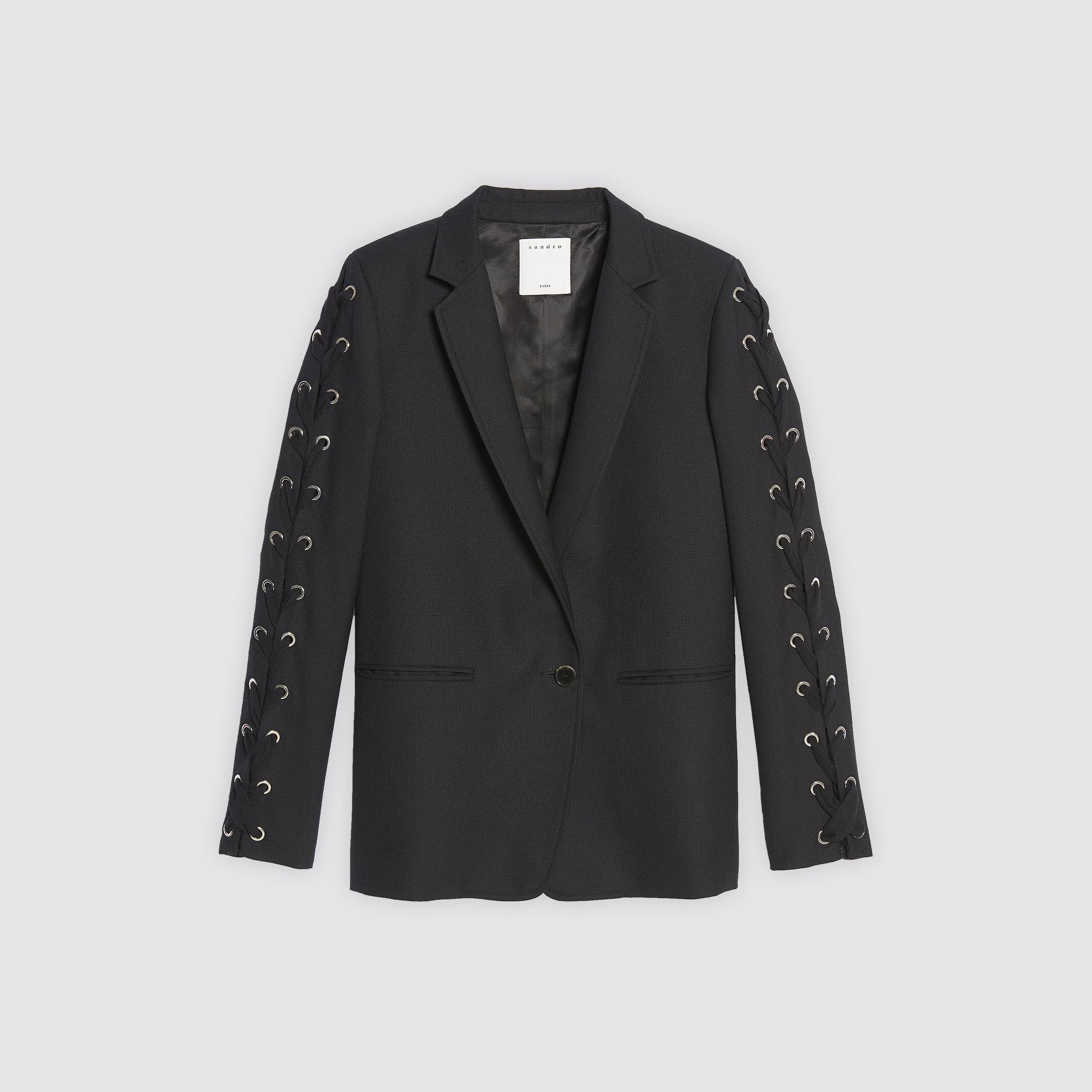 Giacca tailleur con lacci sulle maniche : Collezione Estiva colore Nero