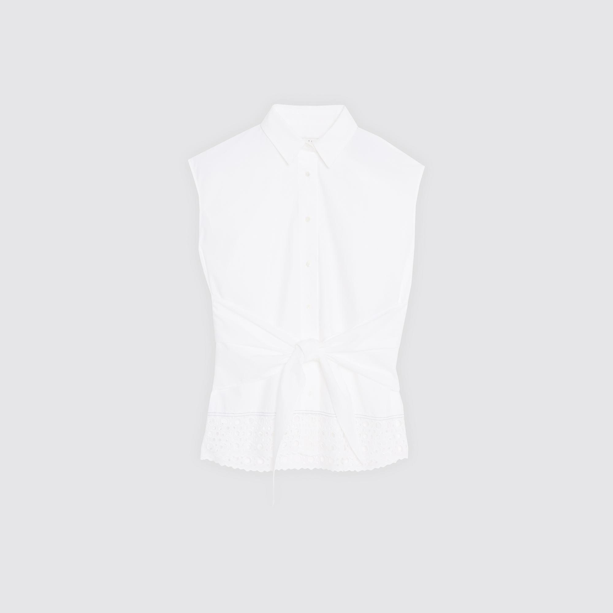 Camicia con inserto in pizzo e cintura : Top & Camicie colore Ecru