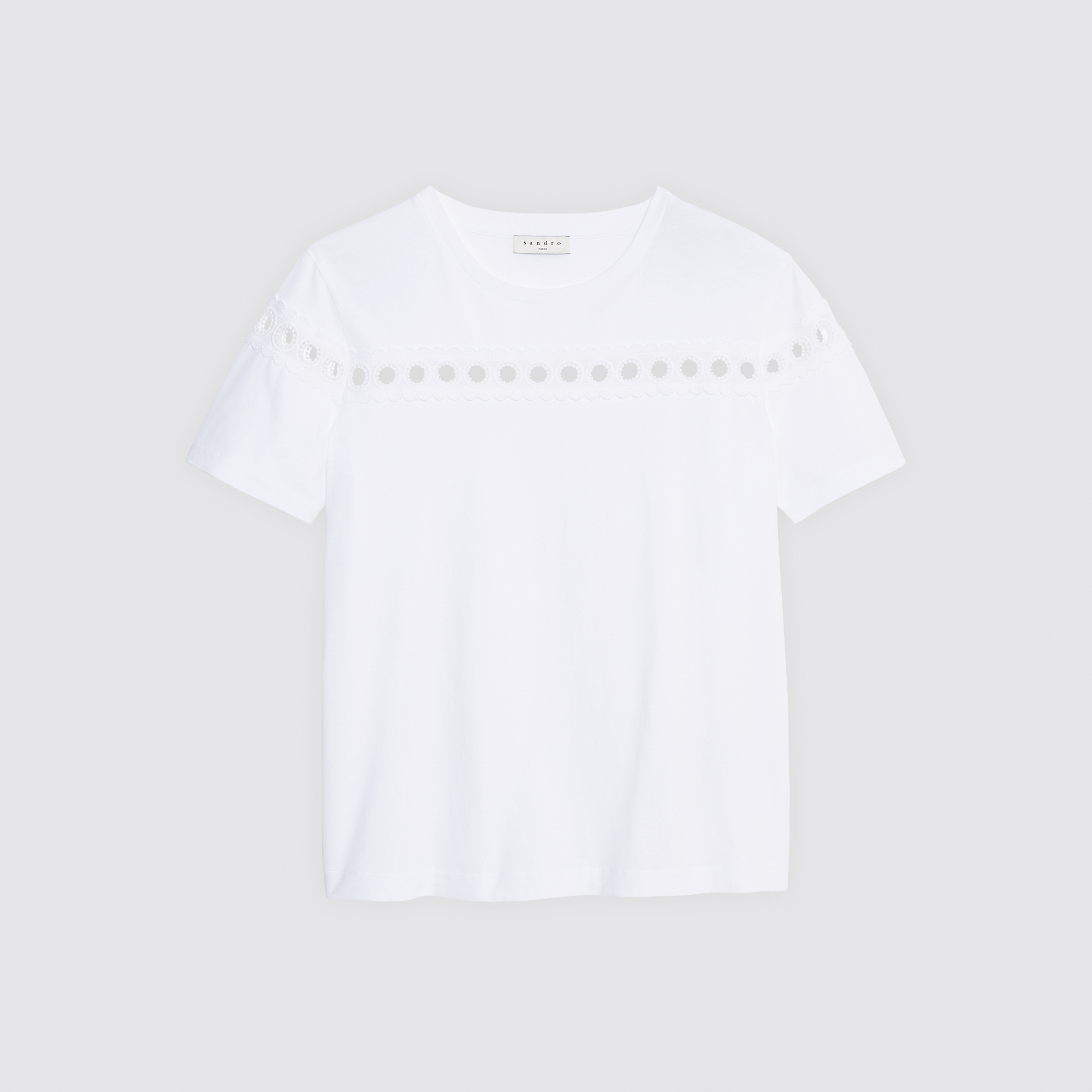 T-shirt con decorazioni in pizzo : Magliette colore Bianco