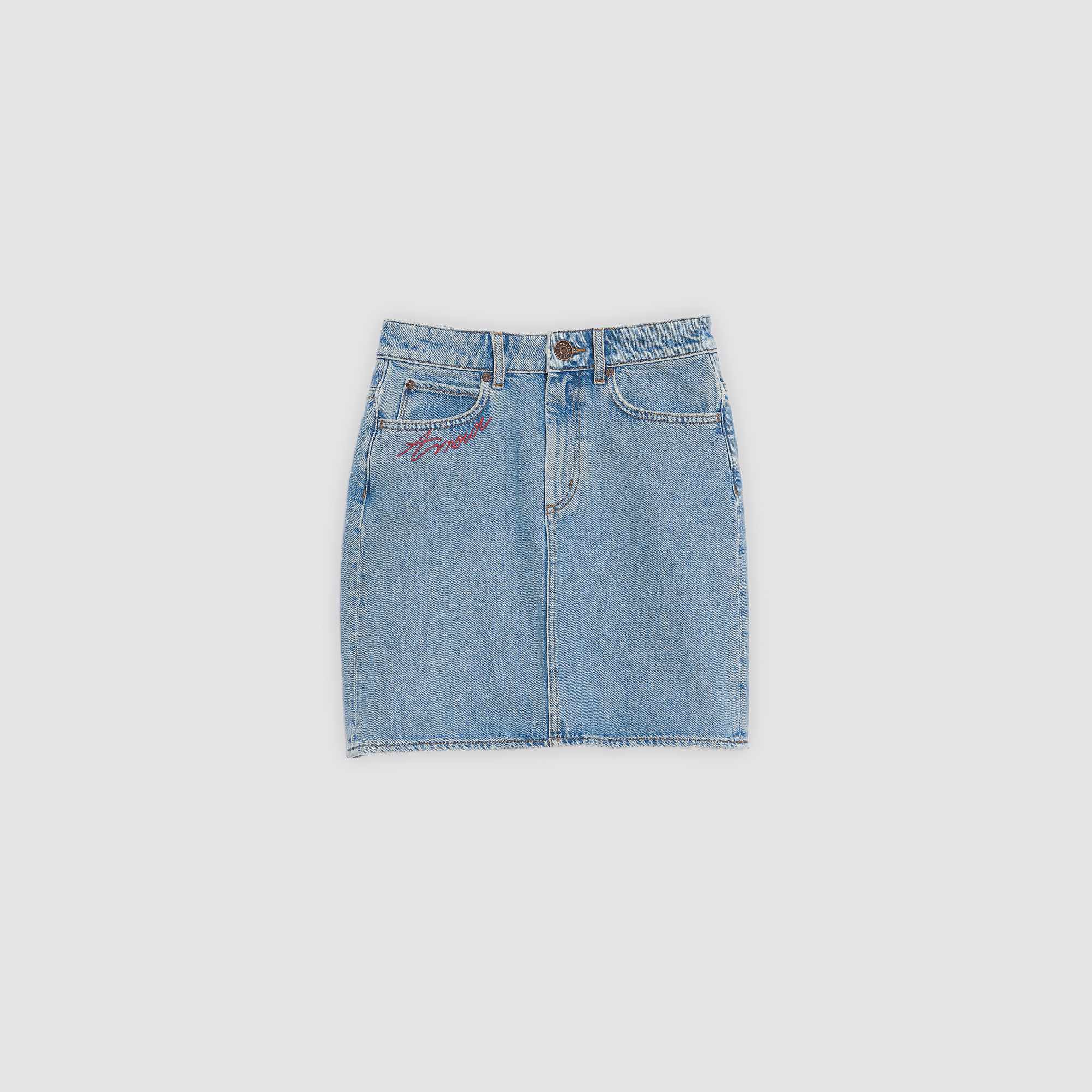 Gonna corta in jeans ricamata : Esclusiva web colore Blue Vintage - Denim