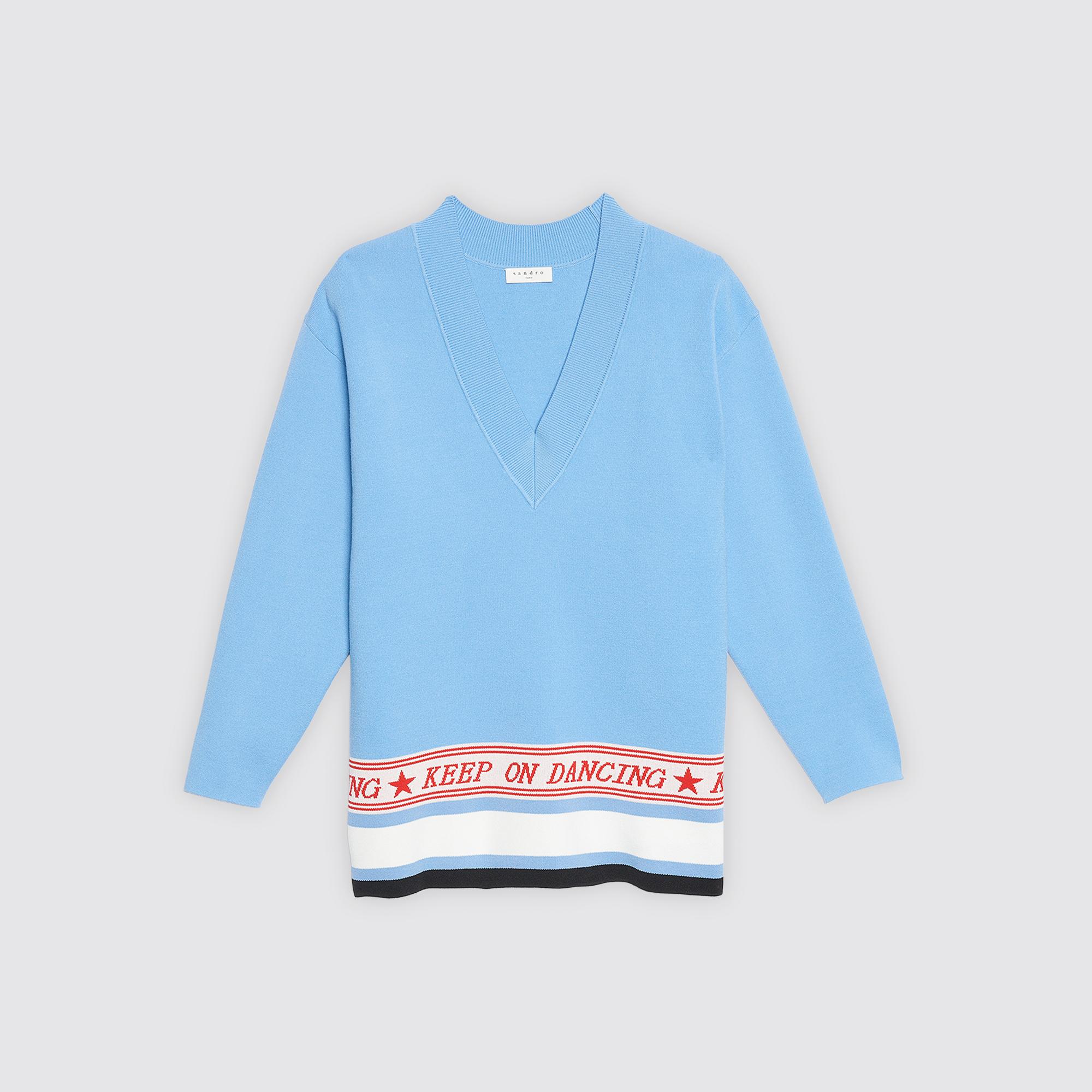 Pullover scollo a V e dettaglio jacquard : Collezione Estiva colore Sky Blue