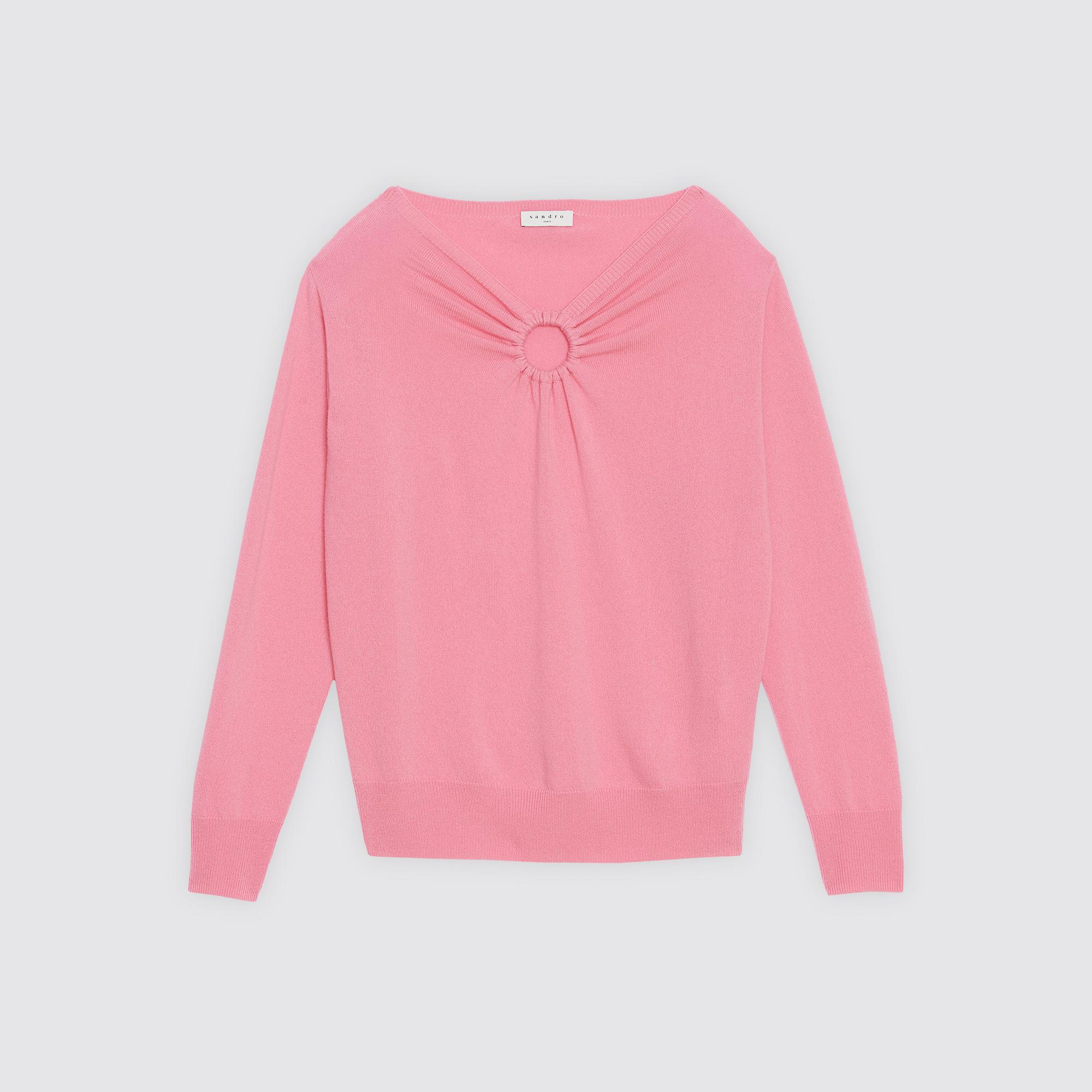 Pullover lana e cashmere scollo rotondo : Collezione Estiva colore Rosa Chewing Gum