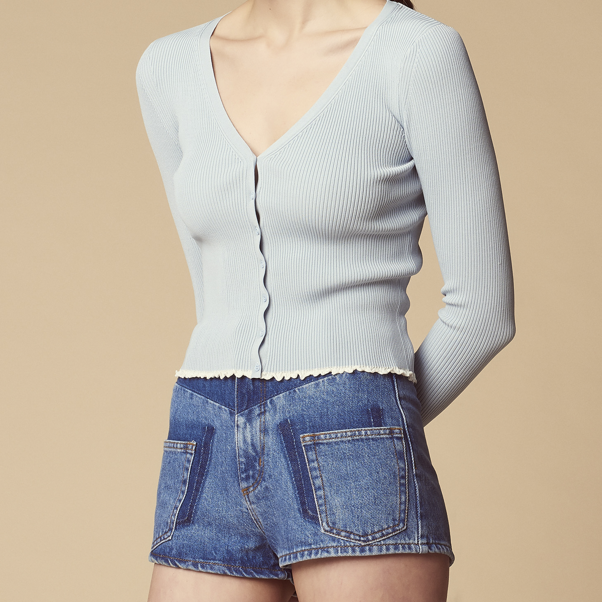Cardigan corto in maglia con volant : Maglieria & Cardigan colore Sky Blue