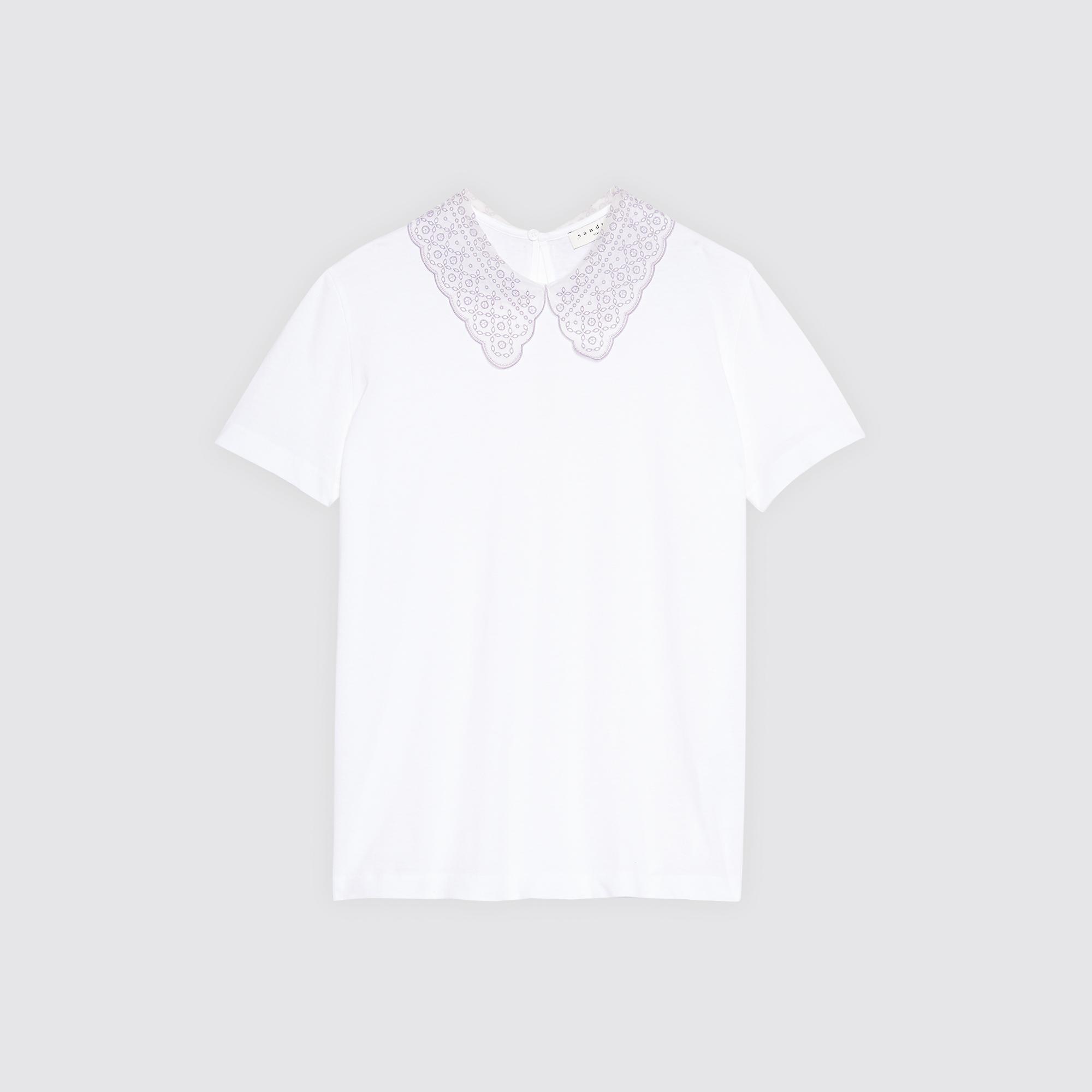 T-shirt con scollo in pizzo : Magliette colore Bianco
